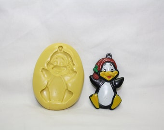 Penguin, flexible silicone mold.