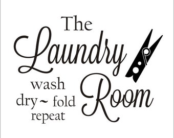 Laundry Room Vinyl Wall Decal with Clothespin Fun Vinyl Decor Laundry Room Housewares Large Vinyl Wall Decal 22x30