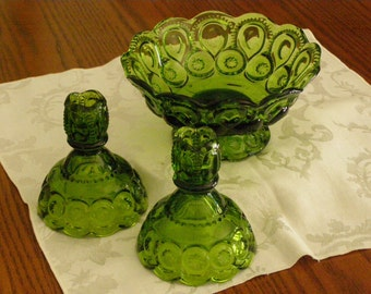 Vintage Green L.E. Smith Moon and Stars Candlestick Holders and  Bowl Set