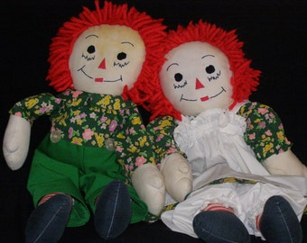 Vintage Raggedy Ann And Andy Dolls Signed And Dated Handmade