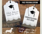 Congrats Grad. Personalized Gift Tags (Set of 12) -- (Vintage-Style, 2017 Graduation, Party Favor, Thank you, College, High School, Grad)