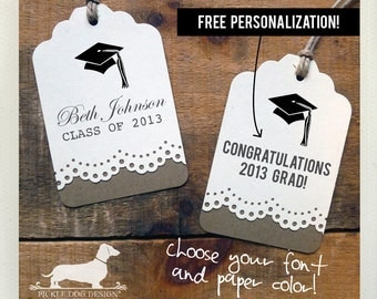Congrats Grad. Personalized Gift Tags (Set of 12) -- (Vintage-Style, 2018 Graduation, Party Favor, Thank you, College, High School, Grad)