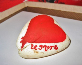 Valentine Rock Paper Weight, Love U More, Gifts for him or her, Hand Painted with Love