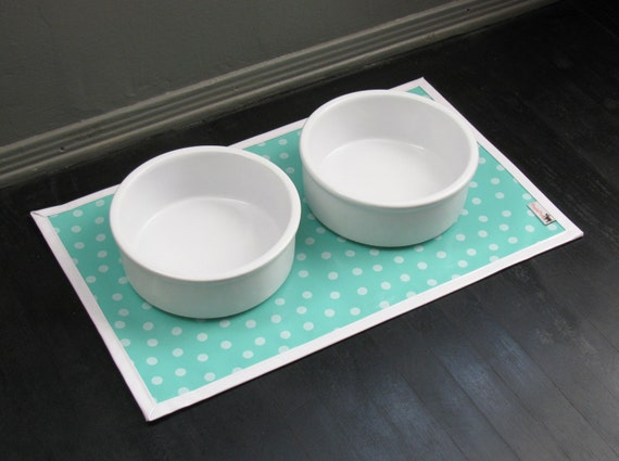 Turquoise Dot with White Border Water Proof Pet Placemat