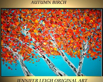 """Original Large Abstract Painting Modern Contemporary Canvas Art Red Orange Gold """"AUTUMN BIRCH"""" Tree 36x24 Palette Knife Texture Oil J.LEIGH"""