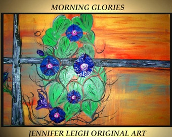 Original Large Abstract Painting Modern Contemporary Canvas Art Orange Purple MORNING GLORIES 36x24 Palette Knife Texture Oil J.LEIGH