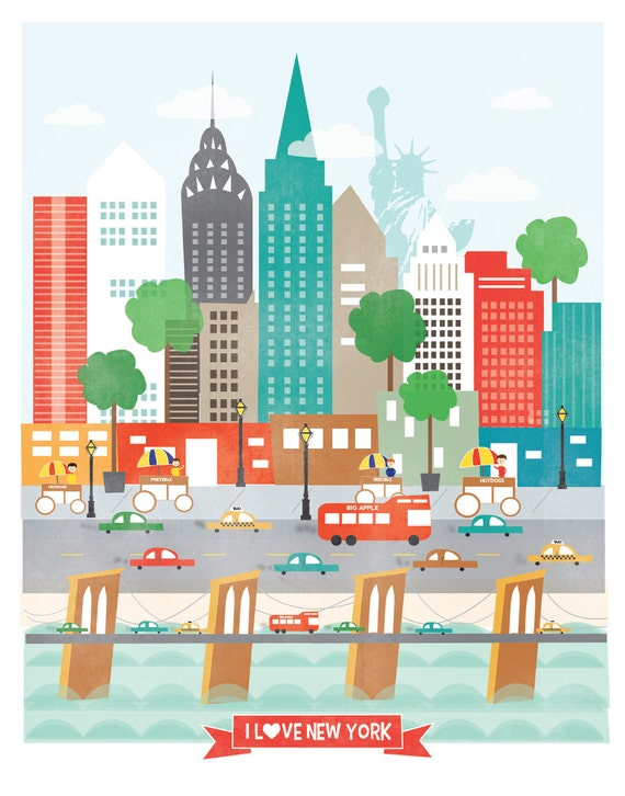 i love new york 11x14 nyc new york downtown skyline city. Black Bedroom Furniture Sets. Home Design Ideas