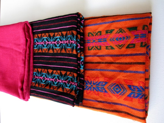 Mexican Fabric Bright colors Bundle, Mexican textiles, colorful geometric , fabric by the yard,