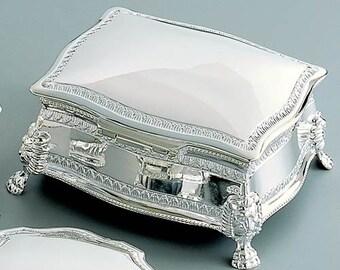 Silver Tone Finish Custom Designed Personalization Keepsake Rectangular Shape Jewelry Box