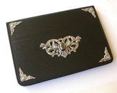 Mini iPad Leather Black Case  -  Magnetic Closure Book Case  - Victorian Gothic iPad Accessories