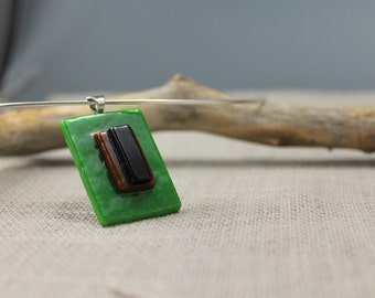 Modern, geometric, green glass, pendant, forest green, graphic, nature,  gifts to her, green
