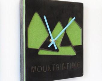 MountainTime Steel & Felt Industrial Wall Art Clock