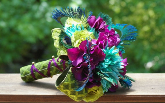 Peacock Feather Bouquet  lime green teal eggplant Victorian Rennaisance