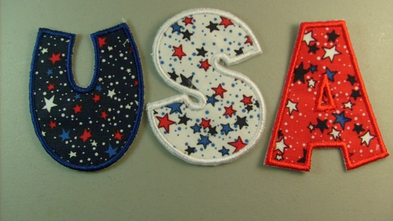 Usa letters iron on or sew on machine embroidered applique for Sew on letters for clothing