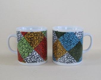 Retro Mod Checkered Coffee Mug Pair