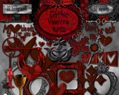 Gothic Valentine Digital Scrapbook Kit