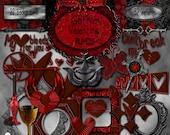 Gothic Valentine Digital Scrapbook Kit