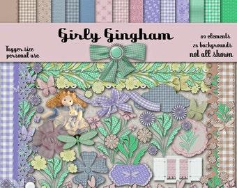 Digital Scrapbook Kit Girly Gingham