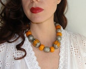 ethnic necklace, amber, silver, Tibetan,