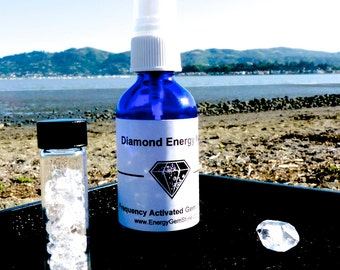 UPLIFTING DIAMOND Water Positive Energy Mist. Herkimer Diamond inside.