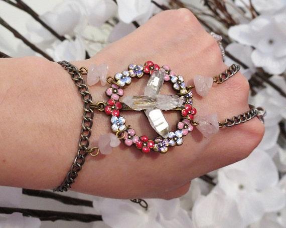 Peace Sign Slave Bracelet, Bracelet Ring. Hand painted Floral Peace Sign. Statement bracelet w Quartz Crystals and Rose Quartz Beads. Sized