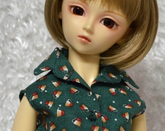 Sleeveless Blouse with Coffee Cup Print for Super Dollfie BJD