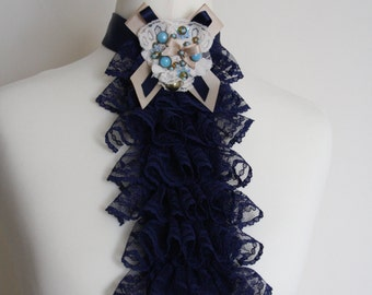 Dark blue color lace jabot FREE UK SHIPPING