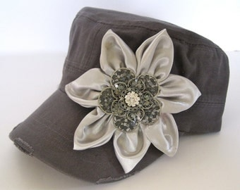 Charcoal Grey Cadet  Military Distressed  Army Petal Hat with Gray Satin Petal Flower and a Silver and Rhinestone Brooch Accent