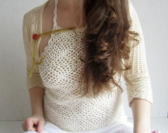 Gypsy Boho Crochet summer tank top Cream lace top Hippie Attire 1970s garment