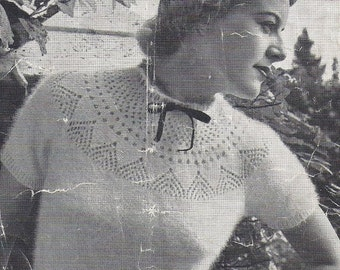 "Stylish 50s ""Bonnie"" Australian knitting ePattern b33 b34""- knitted  blouse"