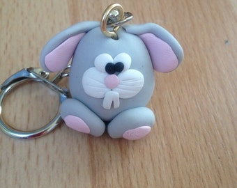 Cute Handmade Rabbit Polymer Clay Keychain