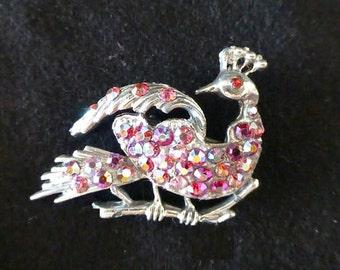 Classic vintage 1950s Aurora Borealis jewelry peacock pin, bird brooch, bird pin
