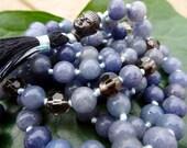 Blue Aventurine Knotted Mala Beads - Yoga Prayer Beads - Mantra Meditation