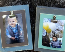 Set of Two Clip Frames - Distressed Picture Frame, 4x6 Picture Frame, clip frame, recipe holder, office organizers