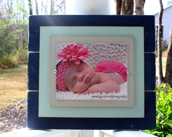 Distressed Frames, 8x10 Rustic Wood Picture Frame, Navy Blue & Seafoam Frame, Perfect Gift