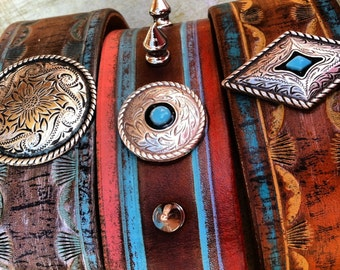 Southwest Leather Cuff Bracelet, Turquouse Western Jewelry