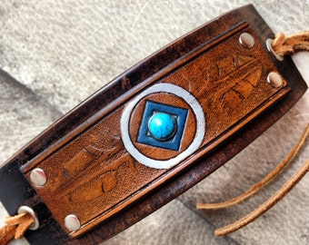 Southwest Feather Leather Cuff Bracelet with turquoise, Indian Spirit Tribal Cuff Bracelet, Black & Brown