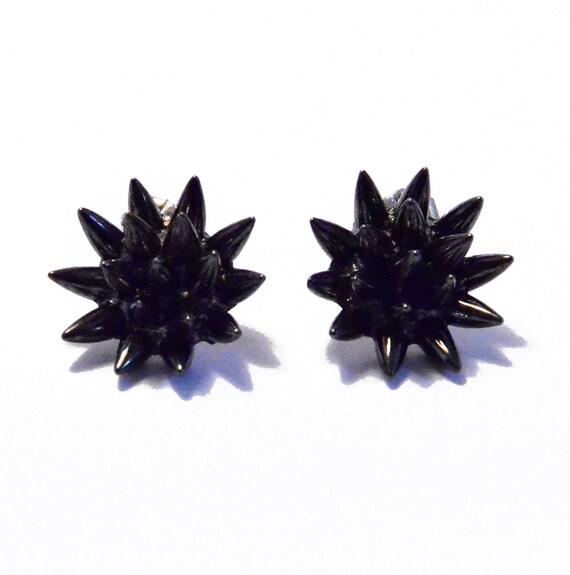 RESERVED for ALITTLEGINGER spike earrings - gunmetal