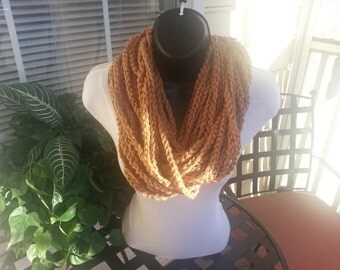 Crochet Chain Scarf Infinity Necklace - CAMEL