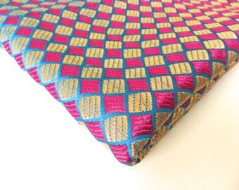 Pink gold small diamond silk brocade India fabric nr 169  fat quarter
