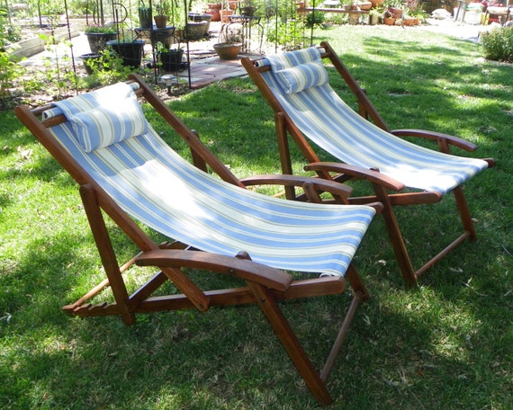 Wood Slingback Lawn Chair Set Adjustable Refinished