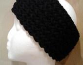 Black knit soft strechy ear warmer headband