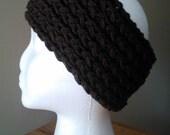 Chocolate Brown knit soft  stretchy ear warmer headband