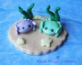 Crabs Kawaii  Polymer Clay Under Sea Glow In Dark Shells Miniature