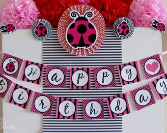 Pink Lady Bug Birthday Party - DIY PRINTABLE Happy Birthday Banner - Instant Download - design by venspaperie - PS815CA2e
