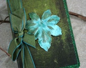 Verdigris patina leaf mini journal -Rustic Maple- pocket or purse nature journal diary