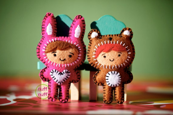 Felt Bunny and Bear Costumes - Pocket Plush Toys