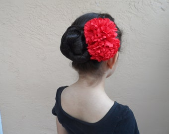 Spanish Flamenco Carnations, Barrette or Comb; Ballet Headpiece, Floral Bun Wrap, Spanish Hair Accessory