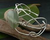 Jade Laurel Leaf Spring Peace Cuff Bracelet in Sterling Silver OOAK