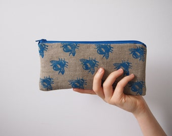 Pencil Case Linen -  Bee Zipped Purse Pouch by Holm